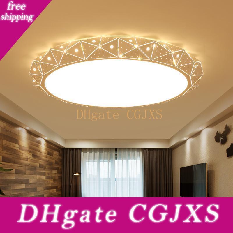 Белый круглый светодиодный потолочный Люстра для гостиной спальни дома AC85 -265v Современные светодиодные лампы Потолочные люстры Крепеж