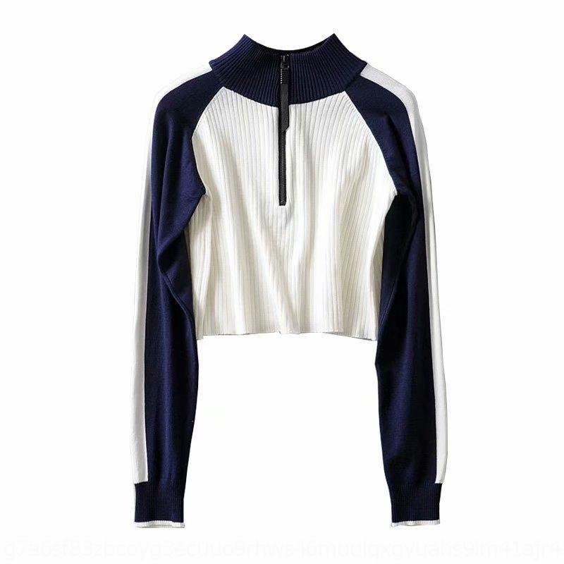 Xv8fl u8m7N 985-19 automne coréenne longue adapter petit stand couleur de contraste à glissière mince poitrine tricot tricot couture col manches Zipper