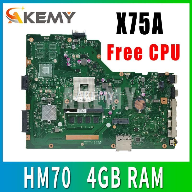 For ASUS A75A X75A X75A1 X75VB laptop motherboard HM70 SLJNV Support B series cpu Mainboard REV:2.0 4GB RAM PGA989 mainboard