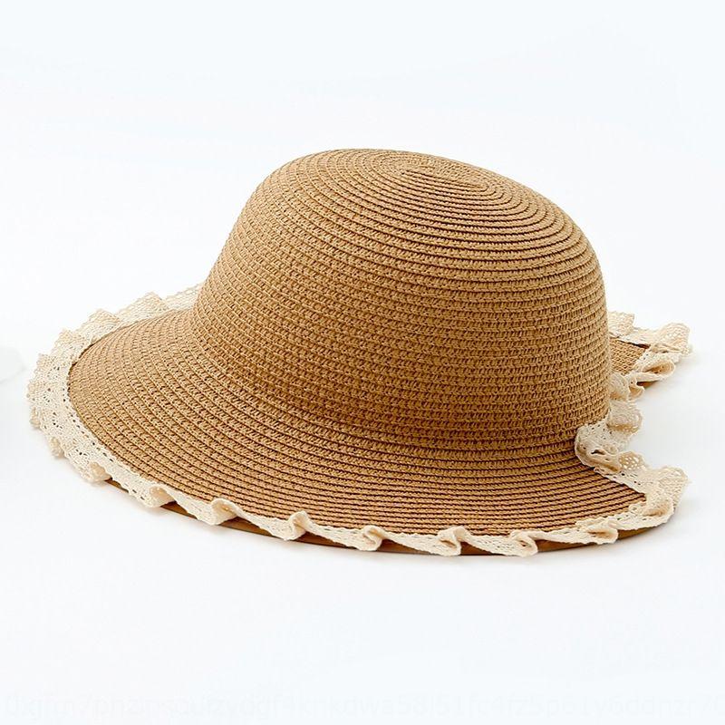 paglia bordo di Qiu estate Nan ragazza Pescatore cappello fresco per bambini all'aperto crema solare protezione solare pizzo spaccatura del pescatore DGUDJ