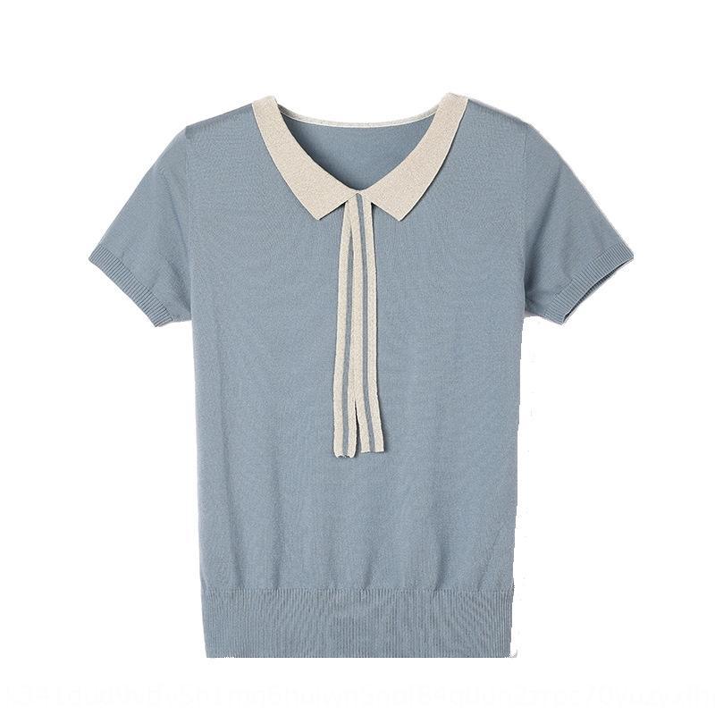 QzYty с короткими рукавами юбки нового летнего льда шелк Short 2020 рубашки юбка трикотаж женской GIquO верхней свободная короткой кукла воротник шнуровка верхней основывая
