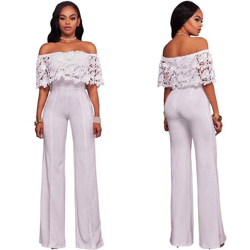 Floral Lace Panelled Slash Neck Full Length Pants Bodysuit Natural Color Jumpsuits for Woman Summer Casual Fashion Female Rompers