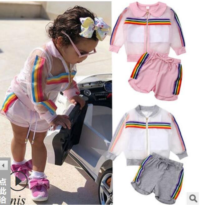 crianças roupas de grife meninas crianças desporto ao ar livre roupas do arco-íris casaco stripe + colete calções + 3pcs / set 2020 do bebê verão Sets Roupa