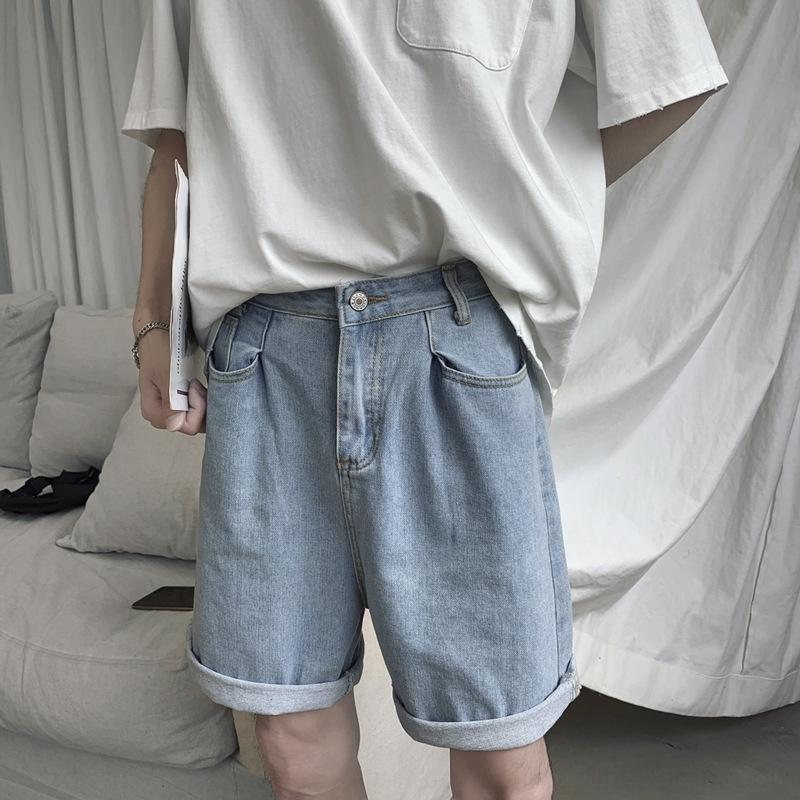 6hlAV UUO9e tobillos pantalones cortos de mezclilla marca de moda masculina floja recta de los cortocircuitos ocasionales de Corea del todo-fósforo lava luz nueve nueve estilo del verano p