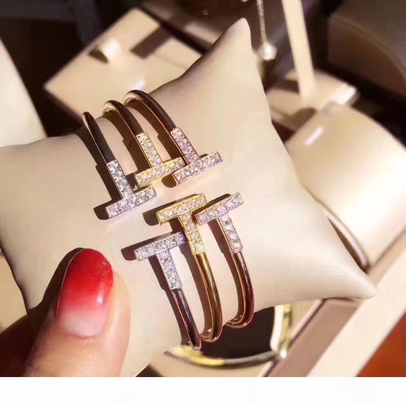 Lüks Klasik Tasarımcı S925 Gümüş Tam Zirkon Kristal Çift TT Açık Bileklik İçin Kadınlar Takı
