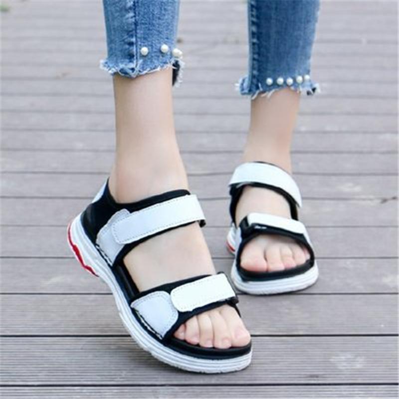 Siddons Deportes Estilo de verano de las mujeres sandalias de punta abierta de la moda casual de las señoras color mezclado Zapatilla deportiva mujer con cierre de tiras de la sandalia romana