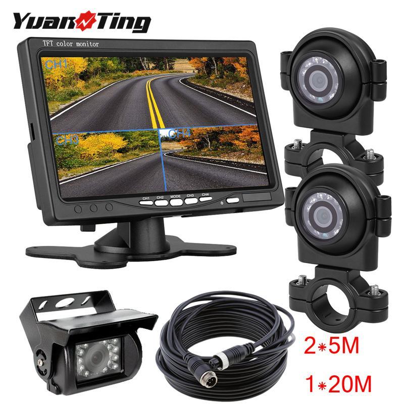 """Yuanting 18 LED IR di visione notturna dell'automobile del CCD di inverso di vista telecamera posteriore LCD da 7"""" pollici 4CH Split Monitor Kit per rimorchio Caravan Camper RV"""