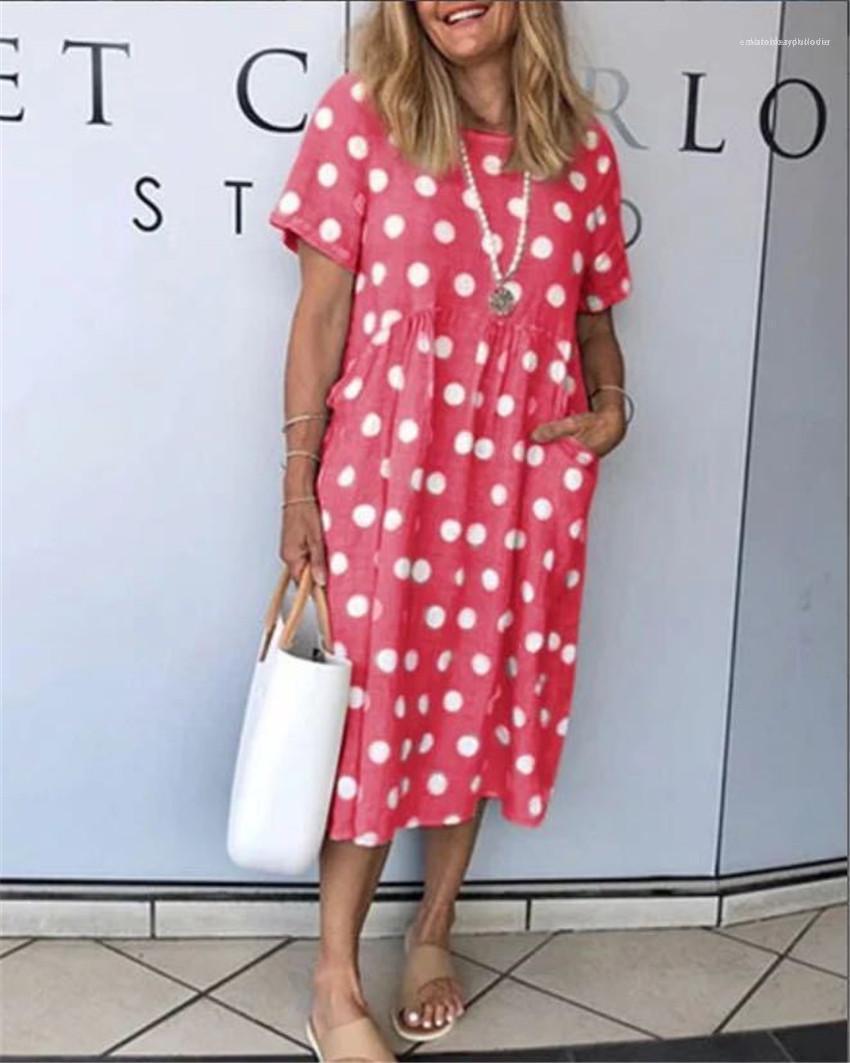Dot Kısa Kollu Kadın Elbiseler Yaz Tasarımcı Gevşek Uzun Bayan Elbise Günlük Nefes Kadın Elbise Polka