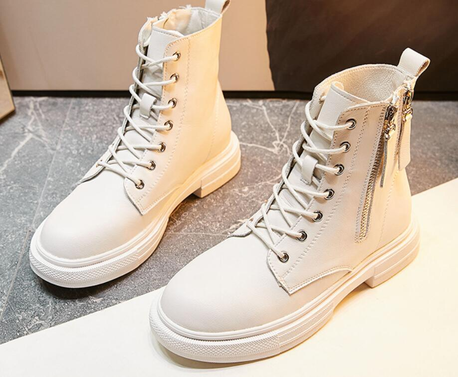 Kalın topuk rahat ayak bileği çizme kadınlar fermuar Deri Martin Boots 2020 Yeni İngiliz Stil Çizme kadınlar sonbahar kış orta tüp tarafı