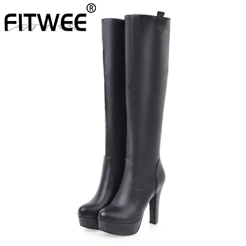 Сапоги Fitwee Plus Размер 31-45 Knee High Woman Ins Мода густые каблуки повседневные платформы обувь PU кожа длинные ботас Мухеер
