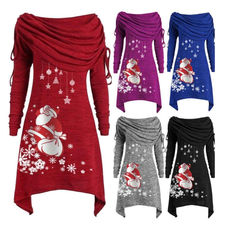 Femmes Loisirs Casual Col plissé à manches longues Père Noël neige Imprimé en vrac hiver chaud Hauts irréguliers