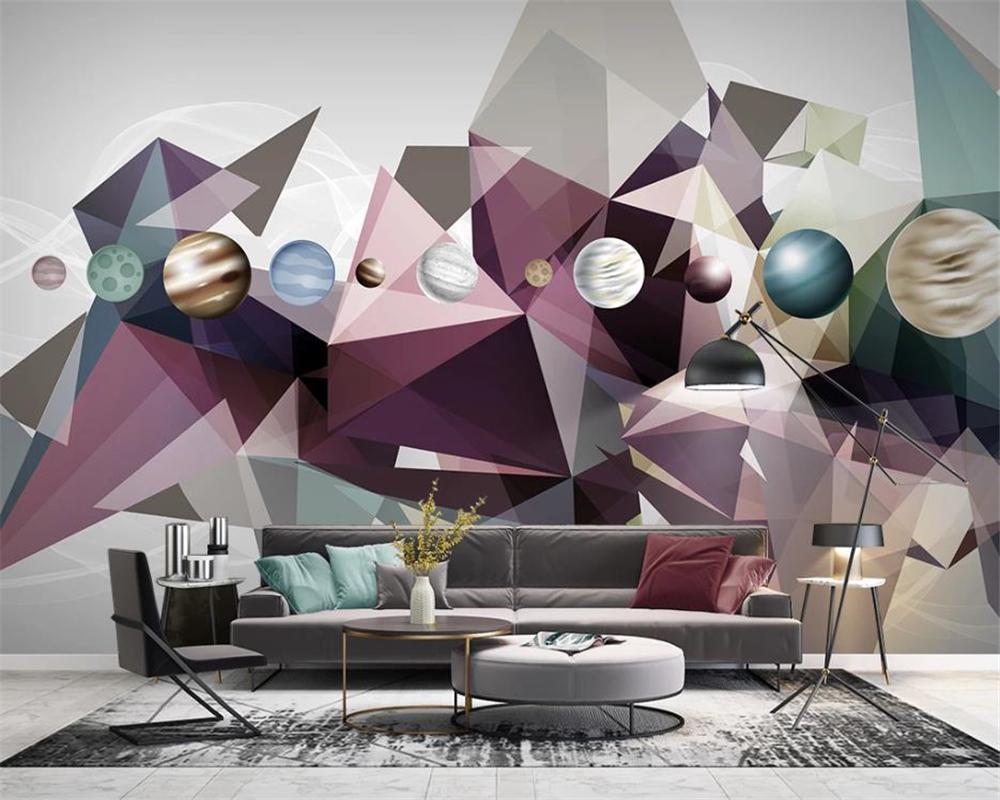 Moderna decoración del hogar del papel pintado Extracto simple Solid Geometry cielo estrellado de la sala dormitorio Revestimiento de paredes Fondos de alta definición