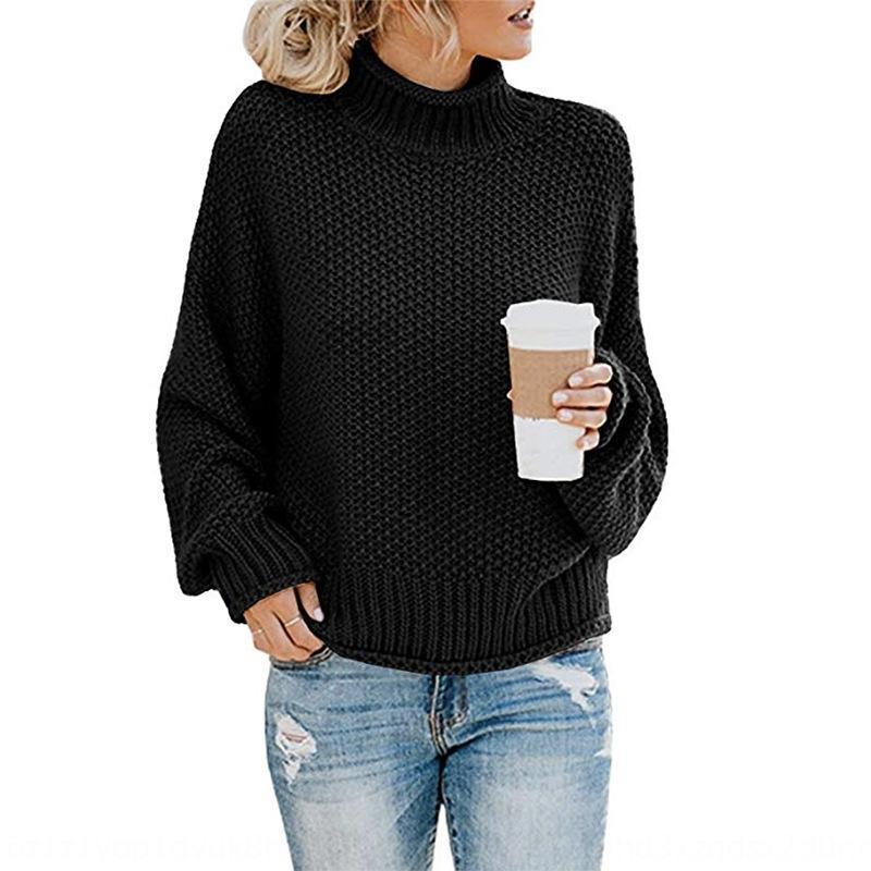 YP22z 19 otoño e invierno de cuello alto línea gruesa de la mujer suéter géneros de punto tejidos de punto jersey de nuevo de las mujeres