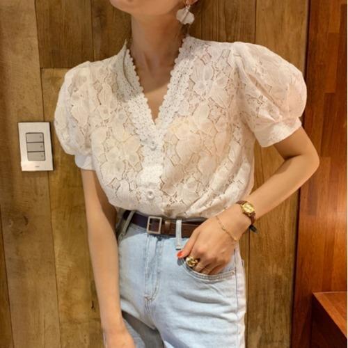 Französisch in Lace Shirt Laterne für koreanischen elegante Spitze V-Ausschnitt Einreiher Laterne Ärmel Kurzarm-Shirt der neuen Frauen TjIsr