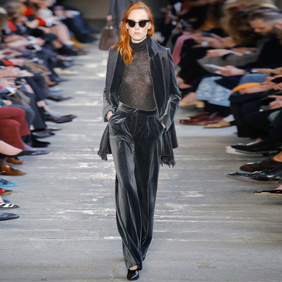 Elegante chaqueta gris oscuro terciopelo chaqueta nueva de la manera 2019 pantalones de diseño Traje de las mujeres determinadas y pierna ancha Pantalones Conjuntos