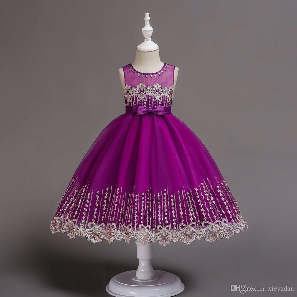 Summer Flower Vintage Girl Dresses Giovani matrimoni Tiered Kid Prima Comunione Dress Piano Lunghezza Little Girl Pageant abiti