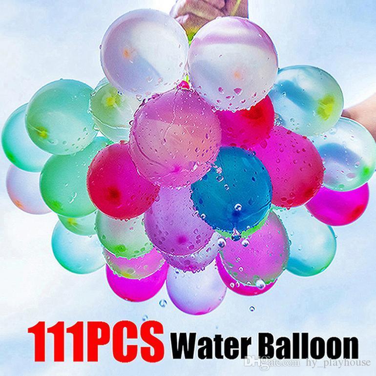 111pcs / set magique d'été coloré de ballons d'eau pour enfants Beach Party extérieur Jouet eau Bombe Ballon Jeu de Tir Enfants Cadeaux de bâillon