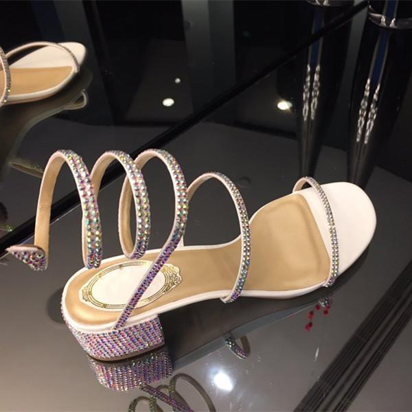 sandales vente chaude design de haute qualité à plat Chunky sandales à talons hauts avec de véritables diamants bracelet de cheville en cuir véritable