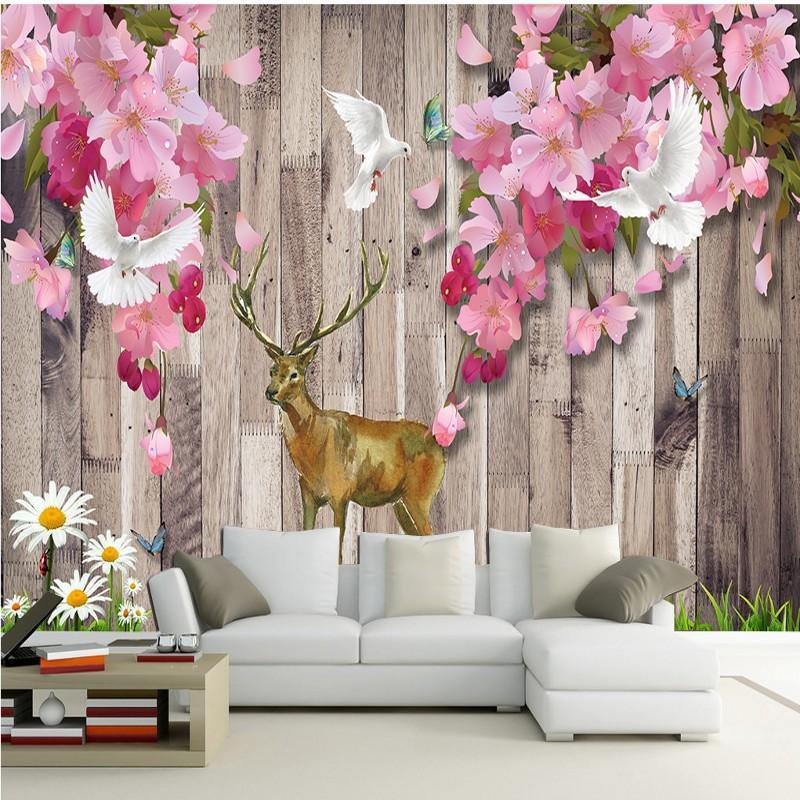 Перевозка груза падения на заказ Фото обои Ностальгический ретро красное дерево цветения сливы Китайская стена Mural Гостиная TV Фон обои