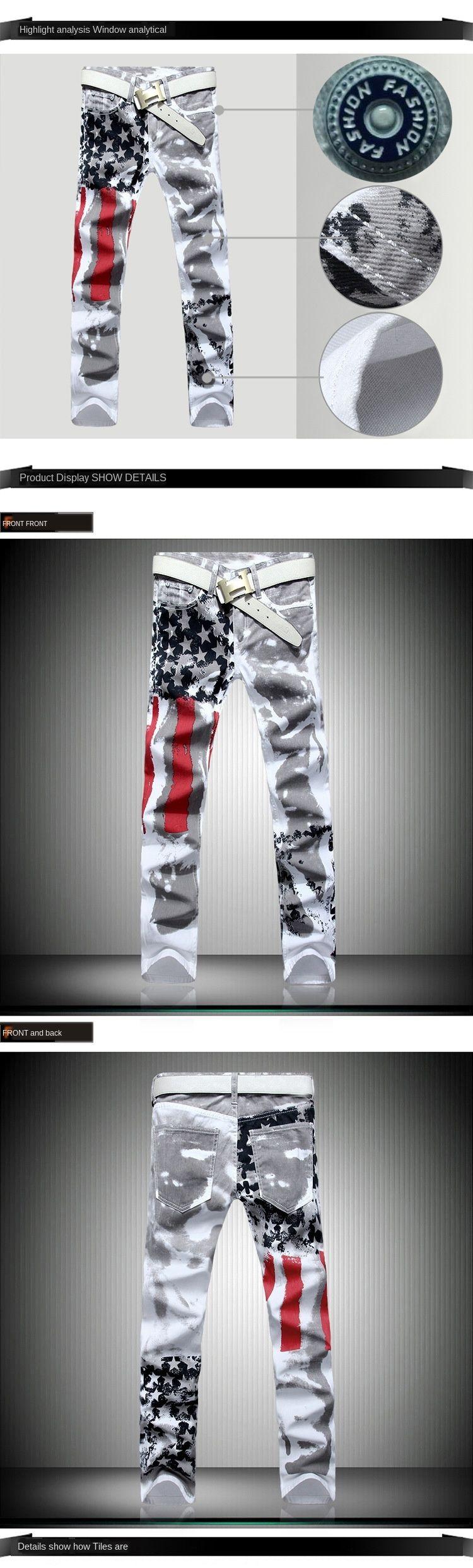 calças tamanho grande bandeira americana e calças de brim da bandeira impressa calças de brim de alta elasticidade slim fit ocasional estrela de cinco pontas Red Stripes uU7gd
