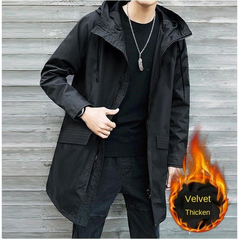 EH6mL autunno cappotto di grasso degli uomini dimensione trench allentato di lunghezza media Giacca a vento casuale più uomo grasso giacca leggera con cappuccio