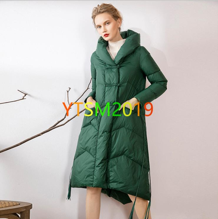 Down wear for womens stand collar White duck down Warm clothing down wear Green Outdoor Warm Feather
