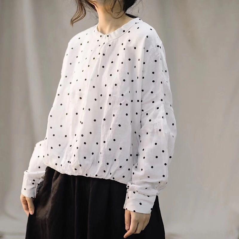 2019 Nuevos de lunares camisa de manga larga jersey suéter superior algodón y lino elegante apaisada superior del algodón de cuello artística de las mujeres y la ropa de WOM
