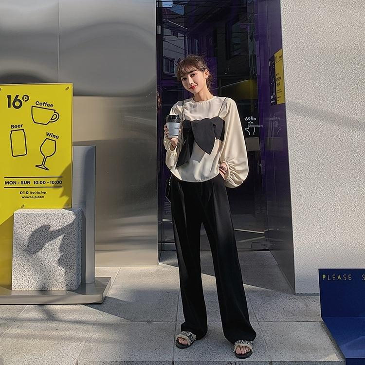 iZppk pierna ancha 2020 del resorte nuevos pantalones anchos de la liga de pierna ancha pantalones de estilo coreano SKANb la liga pequeña juego de la camisa de estilo occidental real hermana w