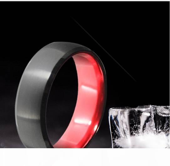 8mm Schwarz Rot Farbe Brushed Dome Hartmetall-Ring Comfort Fit Männer Wedding Band kühle Sommer-Finger-Schmuck Größe 9 bis 13