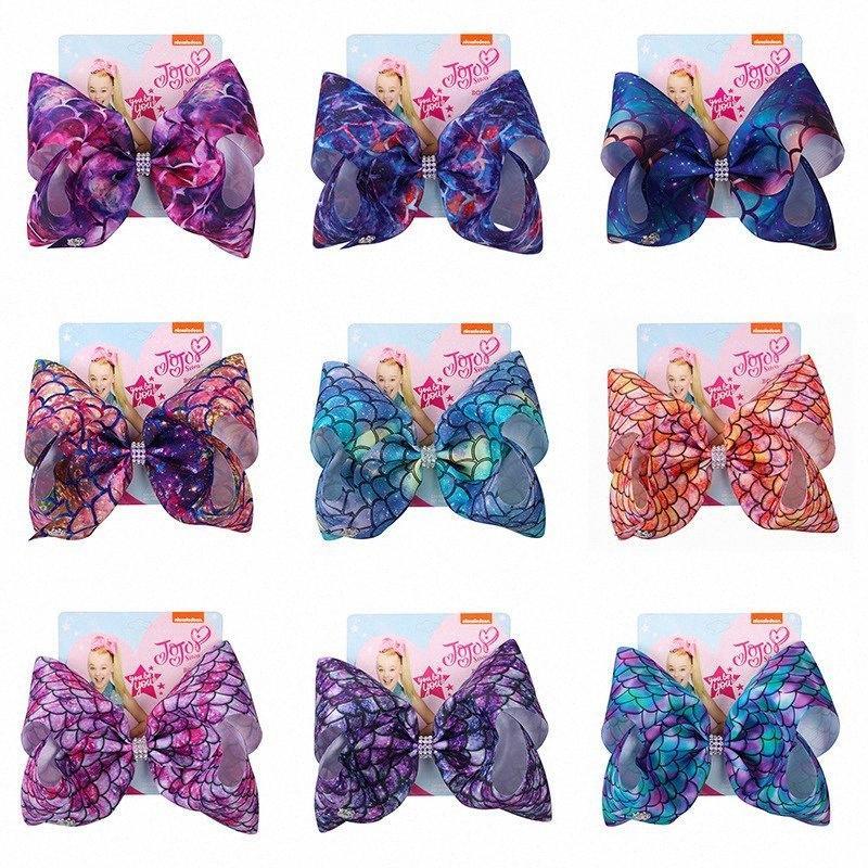 Filles sirène Bow cheveux clip bébé enfants Shiny Bow imprimés colorés Clips Barrettes cheveux Enfants Coiffe Accessoires HHA588 B0gE #