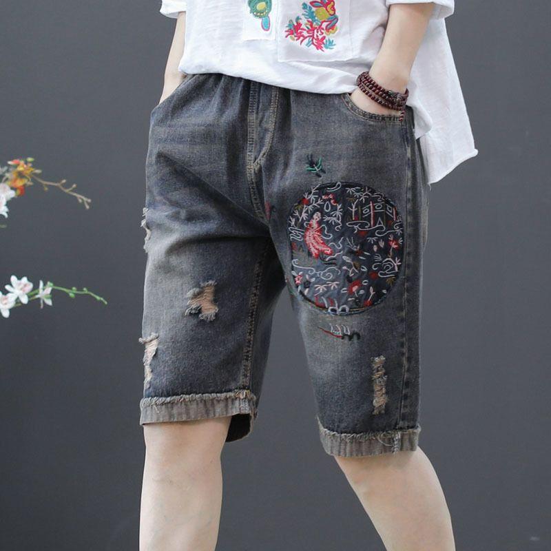 QPFJQD casuale denim shorts di estate delle donne ricamo floreale alta elastico in vita allentata dell'annata delle signore del piedino largo dei jeans corti Pantaloni Y200822