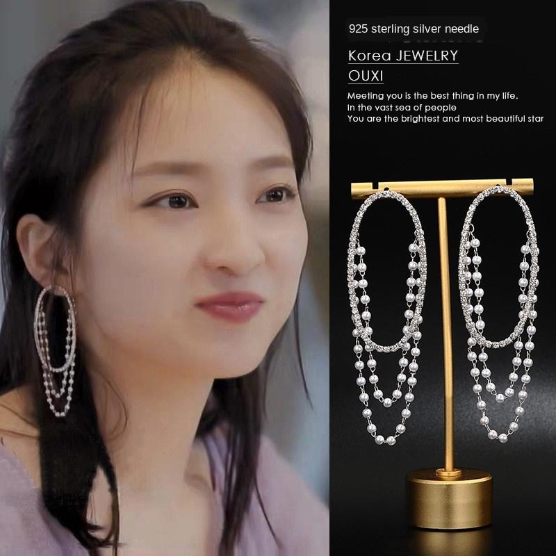 g1XAu Kore Yüzük İnci Yeni İnci S925 gümüş iğne elmas küpe Bayanlar uzun püskül halka zincir küpe küpe