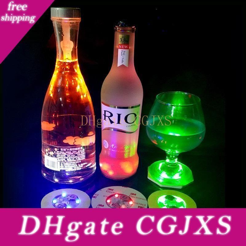 4 Led Decoration Light Bottle Stickers Glorifier Mini Led Coaster Cup Mat For Party Bar Club Vase Wedding Wine Glass S2017542