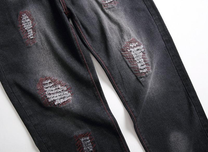 jZBgM jeans droites petites hommes brodés étrangers et brodé pantalon Brochage déchiré 2020 des jeans décoratifs de poche pour les hommes