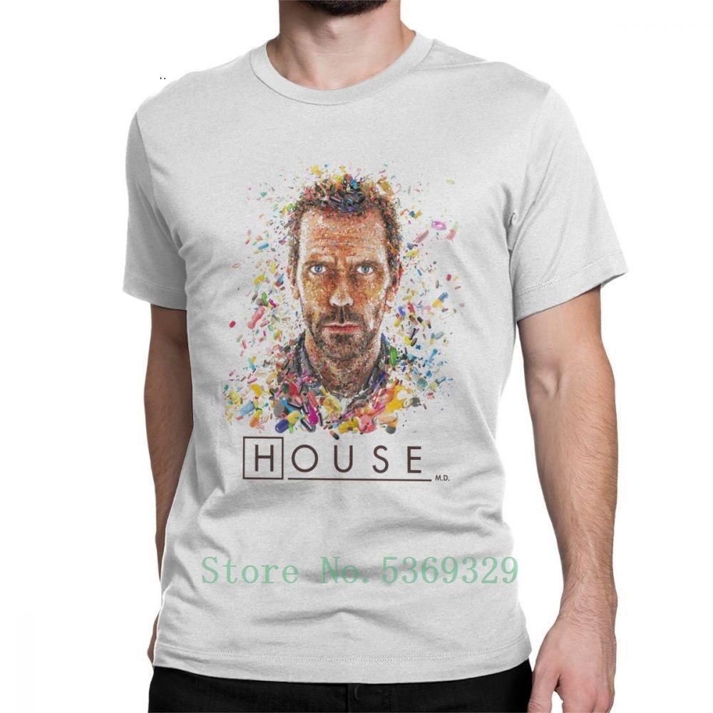 House MD таблетки Смешные футболки мужчин Hugh Laurie O шеи Топы с коротким рукавом Печатный майка 100% хлопок Футболка Плюс Размер