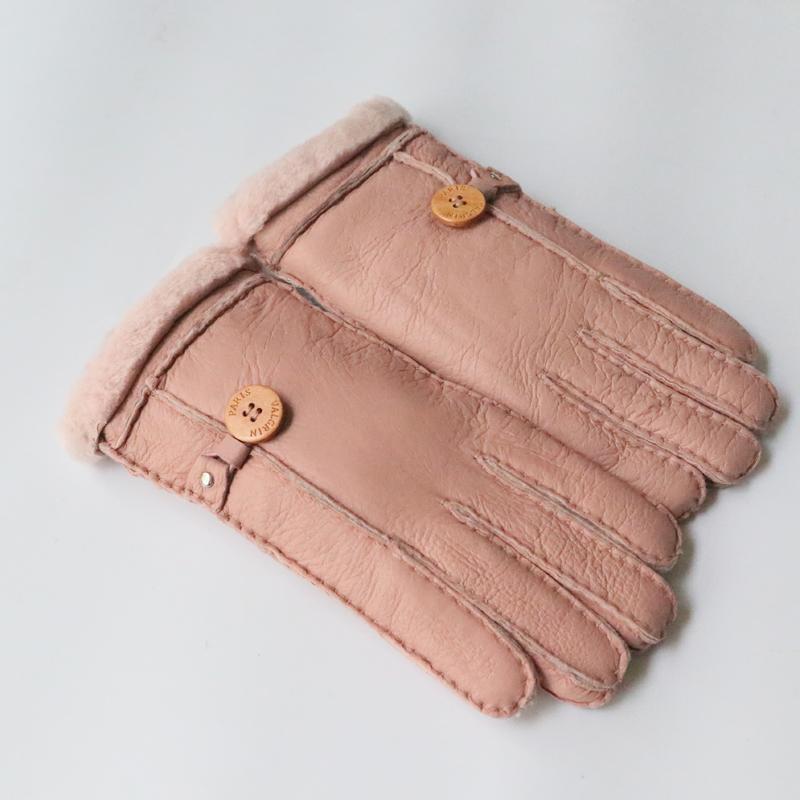 100% guanti di pecora Pelliccia di pecora 2020 Donne addensate Real per Guantes Genuine Femminile Femminile Calda Leather Workout Guanti Guanti Winter VDFJX