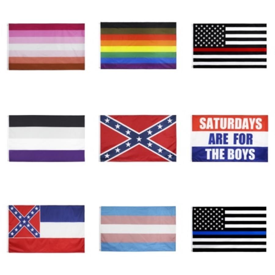 4 Tipos 90 * 150cm BlueLine EUA Polícia Flags 3X5 Pé Fino Blue Line Black Flag EUA, bandeira americana Azul branco e com latão grommets # 549