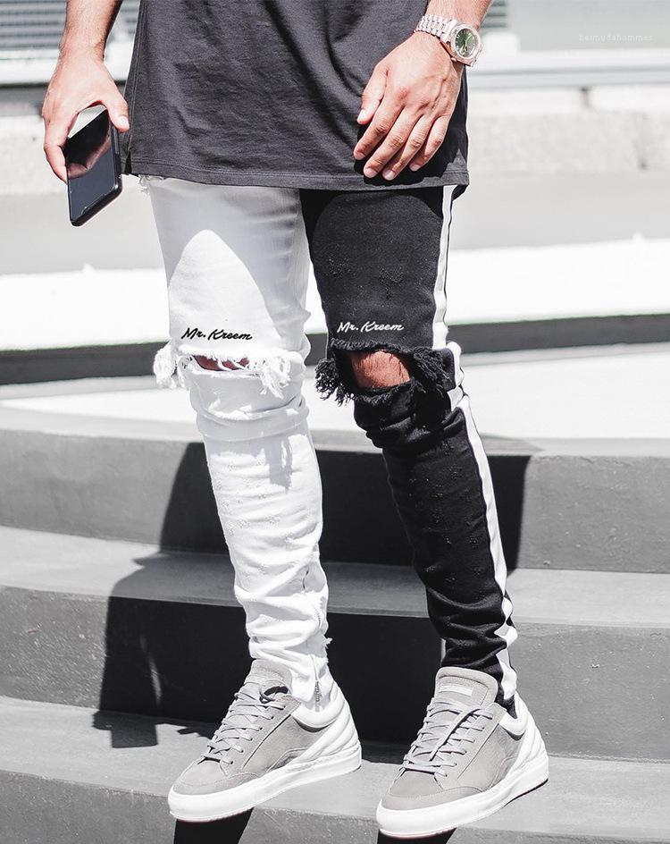 Los agujeros de la rodilla del motorista Jeans primavera blanca rasgado remiendo Negro Jean tousers High Street para hombre