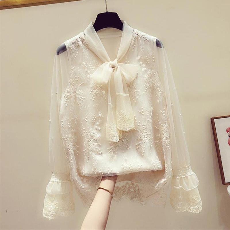 Kadınlar Beyaz Bluz 2020 Yaz İlkbahar şifon Gömlek Kadın Bow Boncuk Bluzlar Bayan Büro Gömlek blusa #YJ Tops
