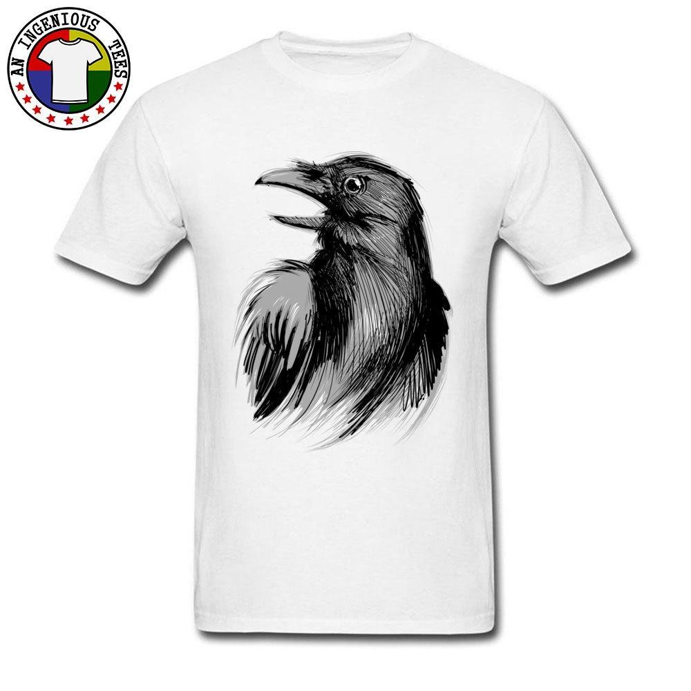 Black Ink Raven Sketching Drucken Top T-Shirts Discount Rundhalsausschnitt Tops Shirts für Männer aus 100% Baumwolle Männer Lustige T-Shirts 2020