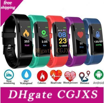 Reloj elegante Id115plus monitor de ritmo cardíaco Presión arterial rastreador de ejercicios SmartWatch reloj del deporte para iOS pulsera inteligente Android
