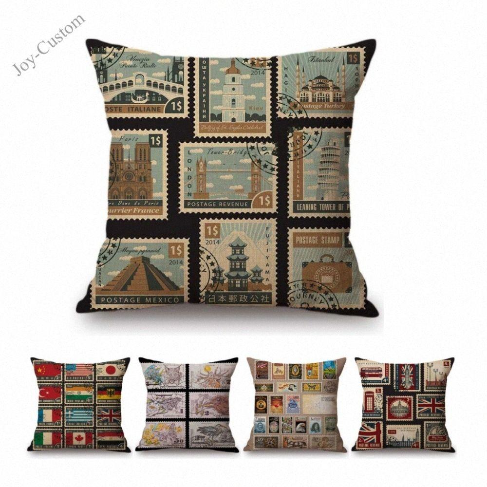 Nostálgico Post Stamps Diseño Sofá de la vendimia la almohadilla de tiro para la decoración casera creativa de algodón almohada de lino de coches Cojín Caso # QtsU