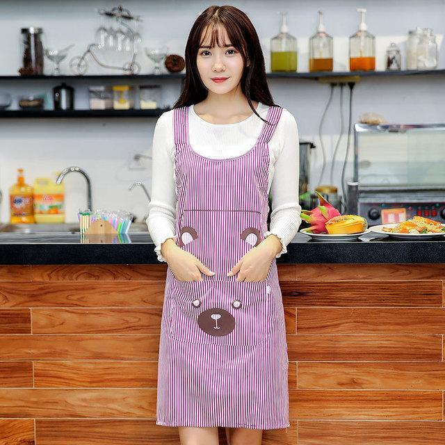 Netter Frauen-Dame-Wasserdichtes Latzschürze Kleid Restaurant Home Küche mit Tasche Kochen Cotton Smock Schürze netten Bär Lätzchen