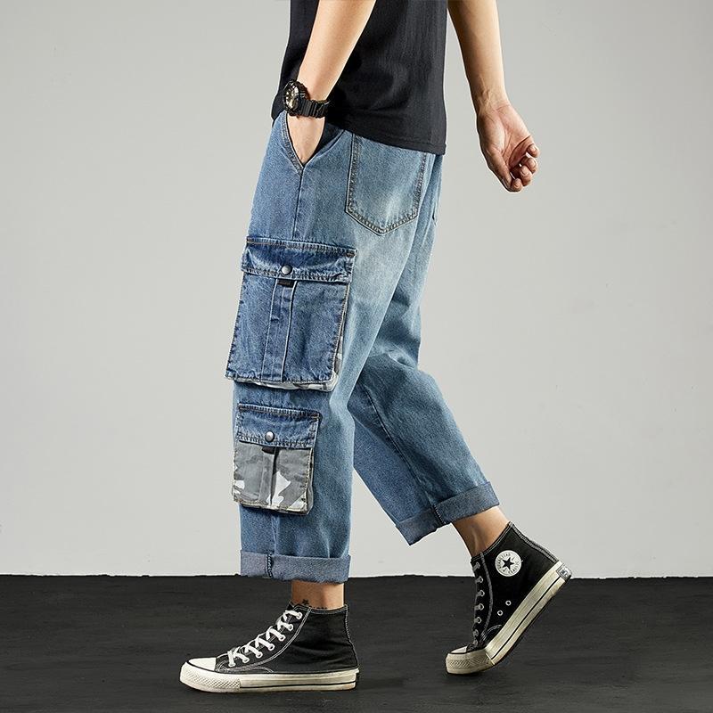 Geniş bacak düz erkek kot ve kot gevşek çok cepli Ins Yu Wenle baba 9 pantolon yıkanmış son moda