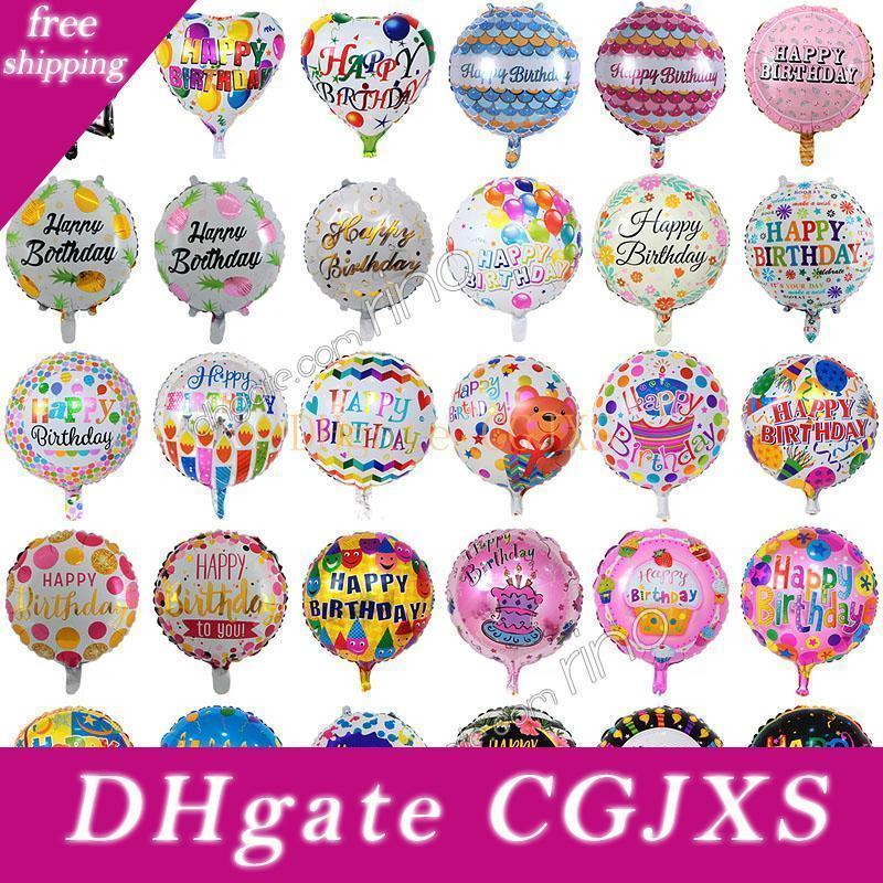 Inflatable Happy Birthday Party Balloons Decorations Supplies 18 Inch Cartoon Helium Foil Balloon Kids Flowers Birthday Ballons Toys