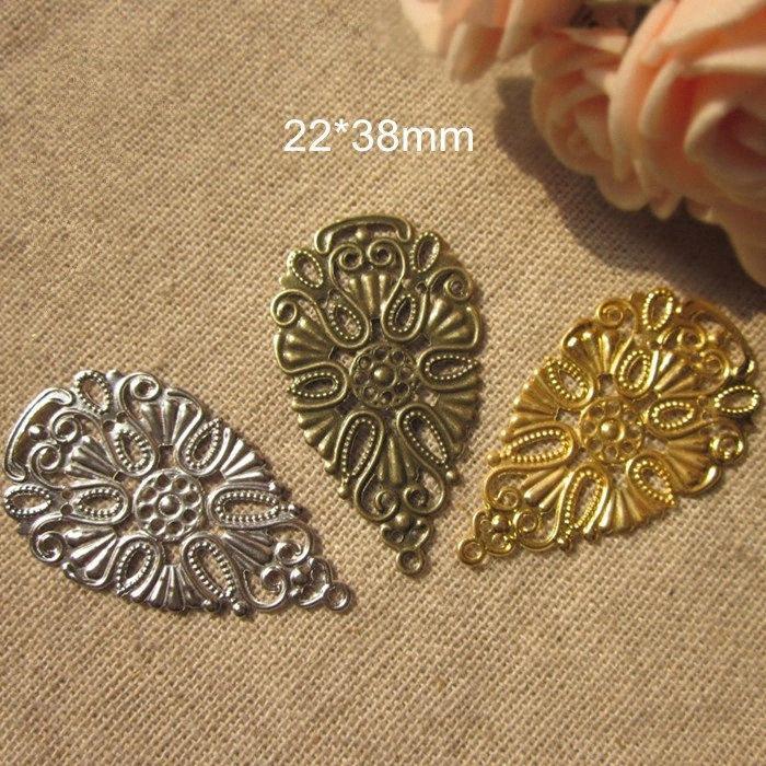 50 peças de metal Stamping Crafted Teardrop Forma encantos filigrana flor, 22 * 38mm, Gold-cor / Silver-color / Steel-color Bronze S704 #