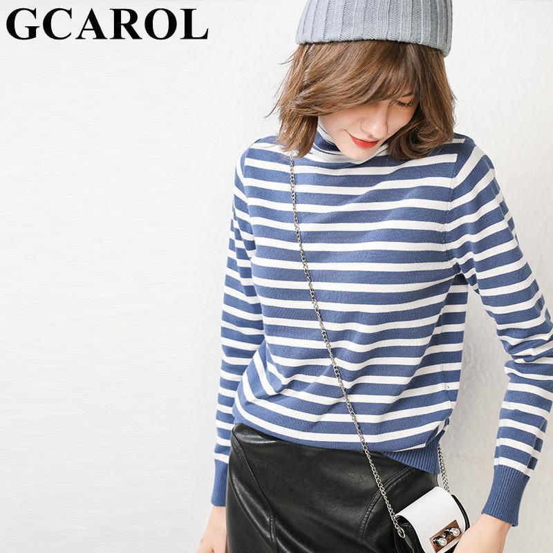 GCAROL nuova delle donne 30% lana maglione dolcevita Stripes Maglione lavorato a maglia Stretch Oversize Jumper Warm Base Render lavorato a maglia delle parti superiori S-3XL Y200819