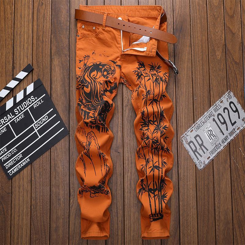 Hombres con dibujos impresos los pantalones vaqueros delgados rectos estiramiento de moda Hip pintada del punk rock de Calle Pantalones vaqueros Hop