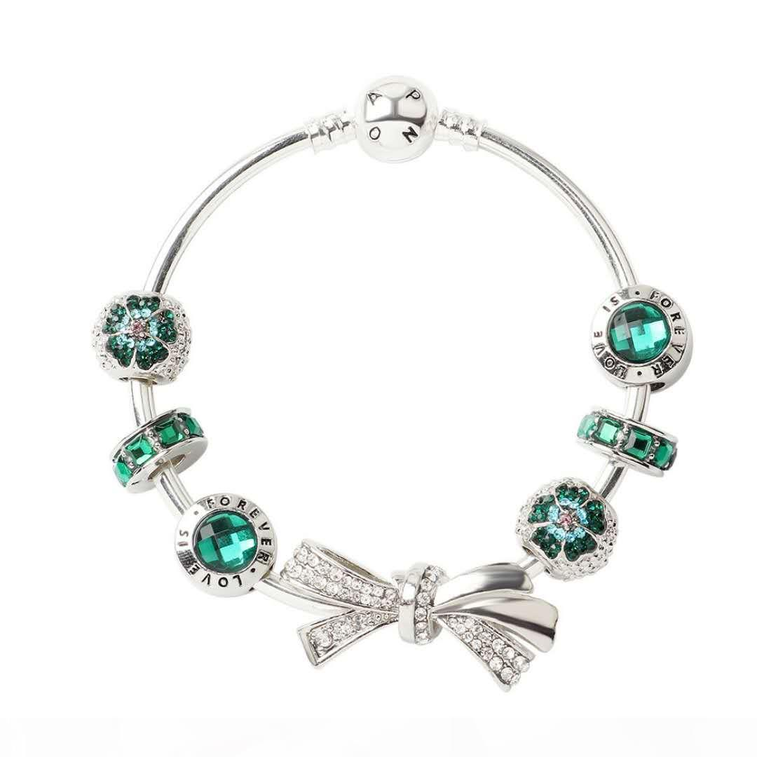 Yeni moda 925 gümüş bilezik bileziği yay düğüm bilezik çekicilik boncuk Noel ve Sevgiliye hediye için DIY TAKI Bileklik