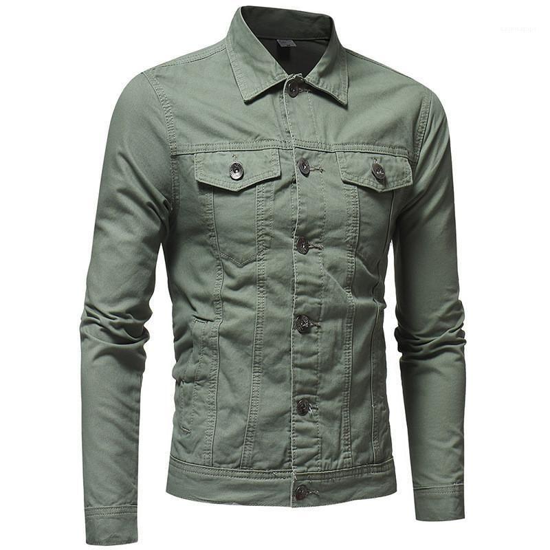 Coats Moda Procket Erkek Giyim Erkek Sonbahar Tasarımcı Denim Ceket Laperl Yaka Uzun Kollu Katı Renk Homme